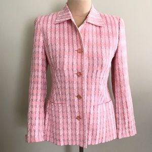 Vintage Escada Pink Plaid Weave Blazer 36